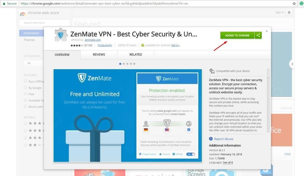 ZenMate VPN - Best Cyber Security & Unblock - Chrome Web Store