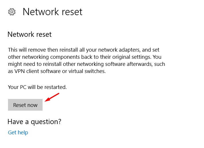 Network Reset Now